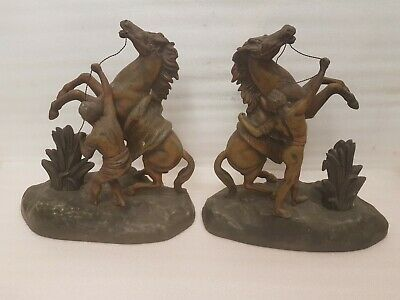 LARGE PAIR MARLEY TYPE HORSES with MEN HOLDING REIGNS