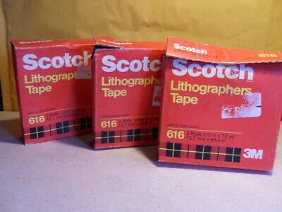 3 New Boxes of 2 Scotch 3M 616 Lithographers Tape Ruby Red 6 ROLL TOTAL