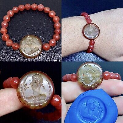 Ancient Sassanian Agate King Intaglio Stone With Carnelian Agate Beads Bracelet