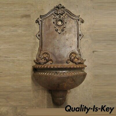 Antique 19th C. French Cast Iron Neoclassical Dolphin Garden Wall Fountain Basin