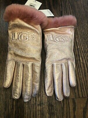 NWT UGG women's classic leather logo glove shiny rose gold fur trim size large L