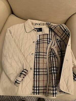 BURBERRY Girls Sz 10 Quilted Beige Riding Jacket Designer Coat Nova Check Lining