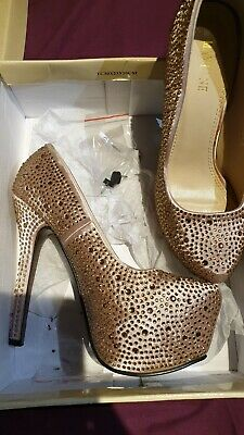 Womens Ladies High Heel Diamante Shoes
