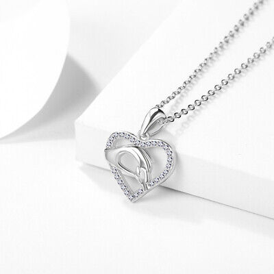 REAL SOLID SILVER 925 Classic Sterling Silver Necklace & Pendant  Heart-074