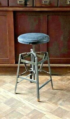 Antique Industrial Stool, Metal Desk Drafting Spring Stool, Industrial Furniture