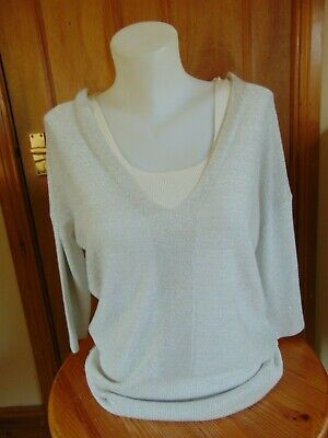Next Top Short sleeved cream sparkly Going out Top Size 8 Used VGC