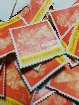 50 Royal Mail 1st Class Signed For stamps Unfranked off paper no gum  FV £66.50