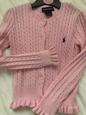 Ralph lauren girls pink cable knit cardigan , age 6