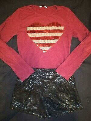 VGC Girls Sequin Shorts Long Sleeve Top Black Red Outfit 10-11 Years