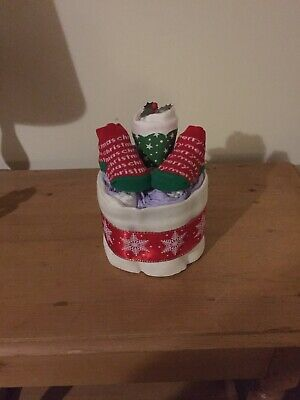 1 Tier Christmas Nappy Cake Boys Girls Unisex Maternity Gift Babys 1st Christmas