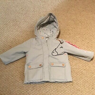Baby Girls Next 12-18 month lined shower resistant fall winter coat unicorn