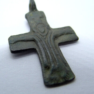 Medieval Ancient Artifact Bronze Cross With Saint