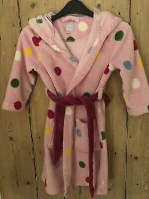Joules girls hooded dressing gown size 3-4 years pink Multi Coloured Spots