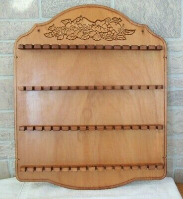Vintage Decorative Wooden 64 Spoon Collector Wall Rack Display Holder