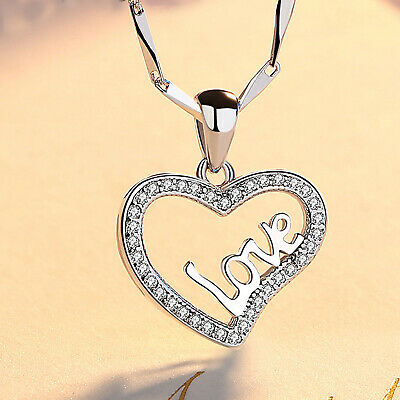 REAL SOLID SILVER 925  Classic Sterling Silver Necklace & Pendant Heart-066