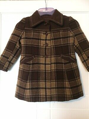 Ladybird Girls Brown Check Wool Coat Age 2 From 1970's