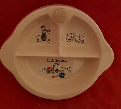 Vintage Excello Divided Baby Warming Plate Little Boy Blue 1949