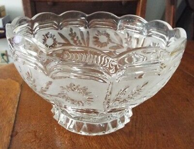 VINTAGE CRYSTAL LEAD GLASS with FLORAL DESIGN & FROSTED AROUND THE FLOWERS B
