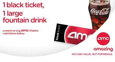 AMC Theaters 1 Ticket, 1 Large Drink and 1 Popcorn - US Only