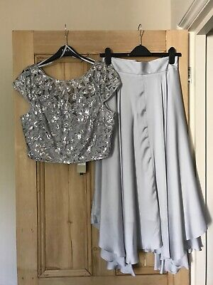 Coast Silver Bridesmaid Skirt (Size 10) and Embellished Top (Size 12) - RRP £158