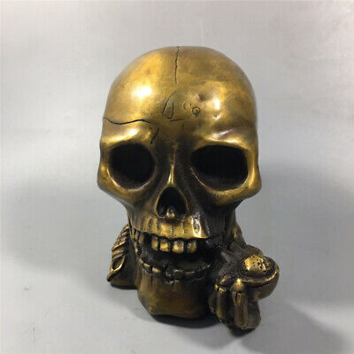 "5.51"" Collection Chinese pure copper Handmade Skull head statue"