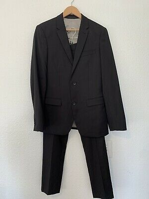 TOPMAN BLACK Text Skinny Blazer US Size 36 Suit Pants 32W Regular Prom Wedding