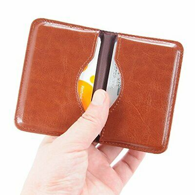 Business Card Case Ultra Slim 2-Sided ID Name Holder Credit Card Organizer,Brown