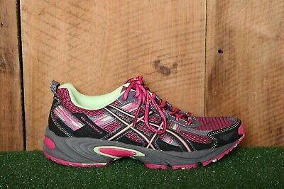 ASICS 'Gel Venture 5' Pink Glow/Pistachio/Black Running Shoes Kids Youth Sz. 5.5