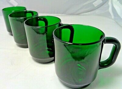 Set of Four (4) Arcoroc France Emerald Green Glass D Handle Coffee Cup Mugs
