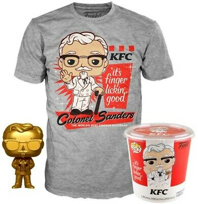 Funko Pop! KFC Gold Colonel Sanders + Pop! Tee XL In Hand! #05