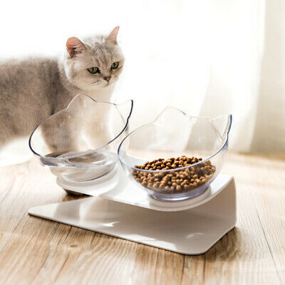 Food Bowl With Stand White Elevated Cat Dog Water Bowl Detachable Pet Feeding CX