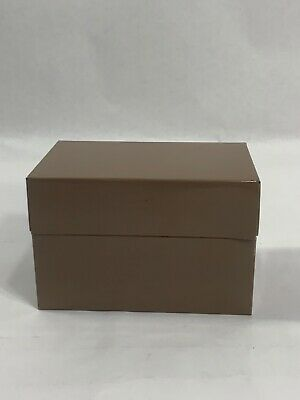 Vintage Syndicate Mfg Metal Brown Tin Recipe Box 3X5 Index Card File