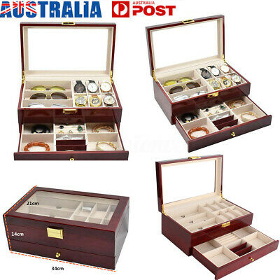 15 Wooden Jewelry Watch Box Double Layer Glasses Storage Display Slot Case Xmas