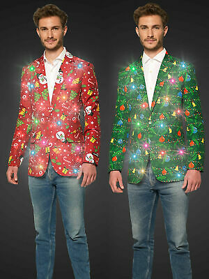 Mens Christmas Light Up Suitmeister Jacket Xmas Party Fun Fancy Dress Outfit