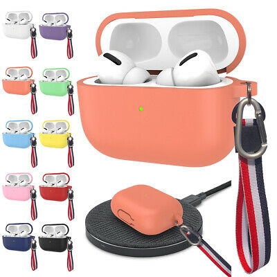 For Apple AirPods Pro 2019 Silicone Case Protective Cover with Anti-Lost Strap