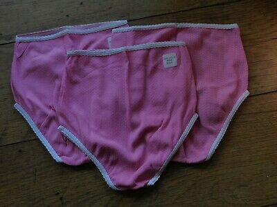 "3 Pair Vintage Pink Stretch Nylon Knickers Panties Small 20"" - 26"" Waist"