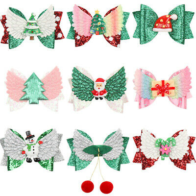 Lovely Baby Girls Wings Hair Clip Glitter Bowk Christmas Hairpin Barrette Gifts