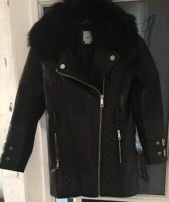 Girls River Island Coat Age 7/8yrs In Black