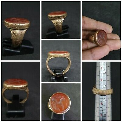 Wonderful Brass Gold plated Unique Ring With Intaglio Horse Red Agate Stone #23k