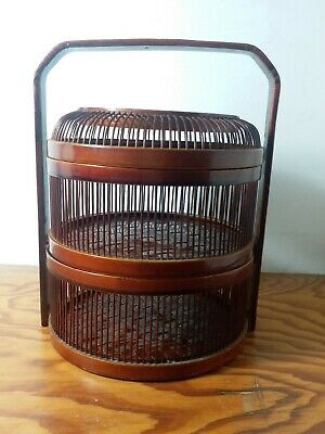 Vintage Japanese Bamboo  Wood Cage Storage Box  or Bento lunch box