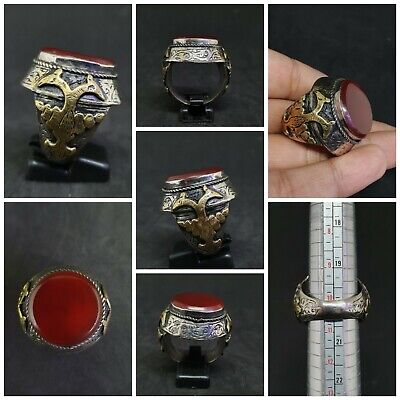 Huge Old Silver & Gold Plated Ring With Beautiful Red Agate Stone # 3P