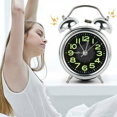 Retro Loud Double Bell Alarm Clock with Night Light Bedside Home Room Decor UK