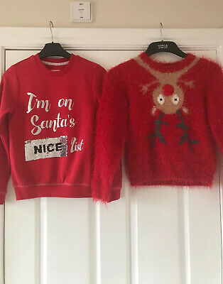 Girls  Next /George  Xmas Jumper X2 Bundle .  Age  9-10 Years
