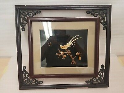 Bird Catching Insect. Hand Crafted Oriental Picture. Very Unusual.