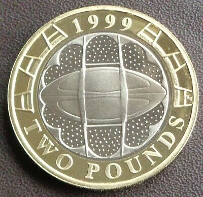 1999 Elizabeth II £2 Proof Coin - Rugby World Cup