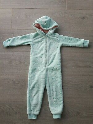 Girls cosy soft fleece all in one suit  3-4 years -immaculate condition