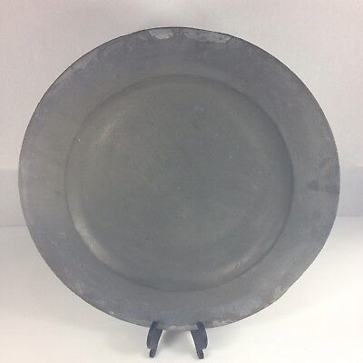 """Large Antique William Sandys At Martins Lane Pewter Charger With Crest 18"""""""