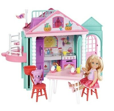 Barbie Chelsea Club Playhouse Dolls House Playset Girls Toy Gift Furniture