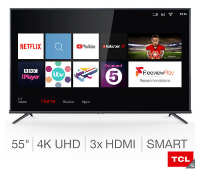 "TCL 55EP648 55"" Smart 4K Ultra HD HDR Pro LED TV, Freeview Play HD, Slim Design"