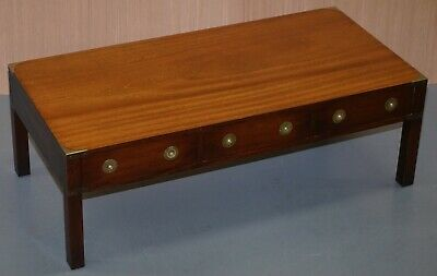 Stunning Military Campaign Coffee Table In Solid Mahogany With Large Drawers
